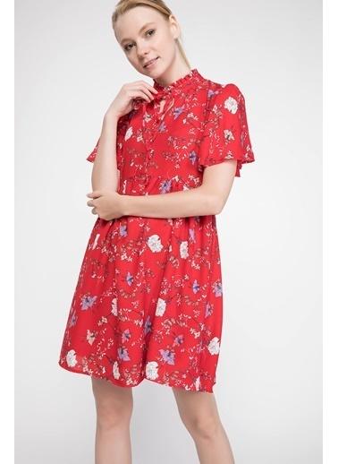 DeFacto Floral Desenli Krep Elbise Kırmızı
